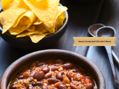 Hearty Chunky Beef Chili with 3 Beans